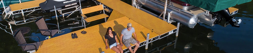 Couple sitting on Roll-in dock